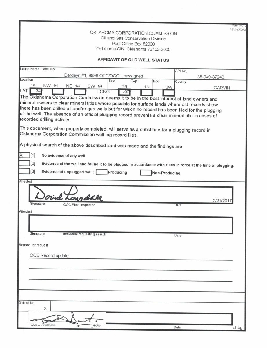 Affidavits of oil well status - Garvin County, OK - Mineral Rights Forum